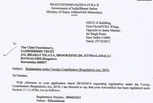 FCRA Registration of Samridhdhi Trust